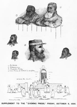 Sketches from the 1886 trial of Erueti Te Whiti-o-Rongomai III (top right) and Riwha Tītokowaru (top left)