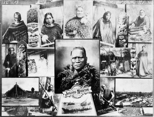 Montage of photographs depicting Māori people and scenes by Josiah Martin