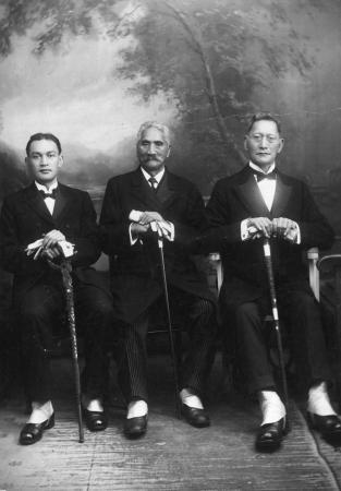 From left, Haami Tokouru Ratana, Tupu Atanatiu Taingakawa Te Waharoa and Reweti Te Whena, London, 1924