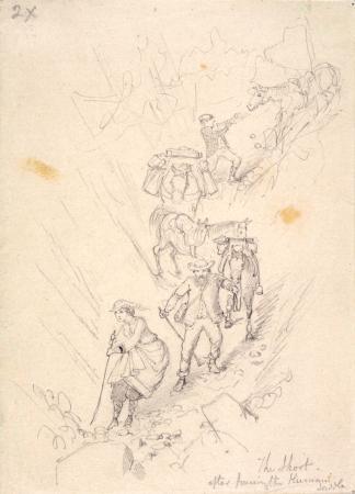 Nicholas Chevalier and Caroline Chevalier, crossing the Hurunui Saddle, 1866