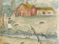 Sketch of the first home of brothers William Deans and John Deans at Potoringamotu, Canterbury