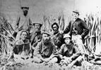 Land negotiators on the banks of the Waihou River, Waikato, 1865 or 1866