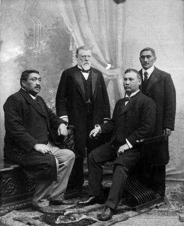 Political opponents: from left, Henare Kaihau, Richard Seddon, James Carroll, King Mahuta.