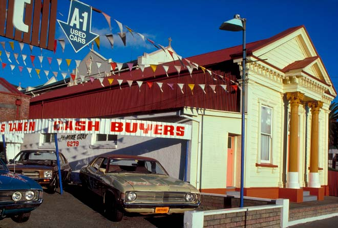 Second-hand car dealership, Auckland, 1970s