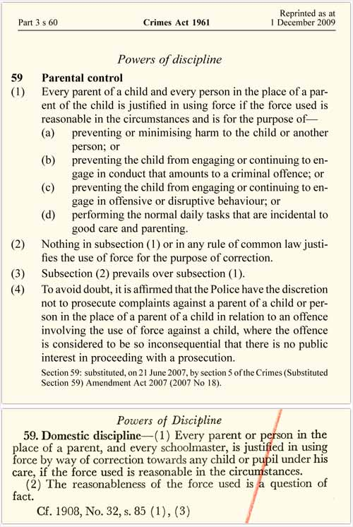 Child discipline and the law