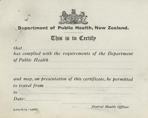 Smallpox vaccination certificate