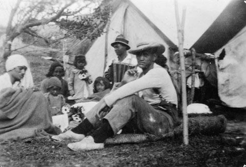 Patients, typhoid camp, Maungapōhatu, 1924