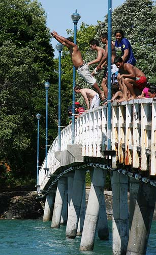 Jumping off the footbridge