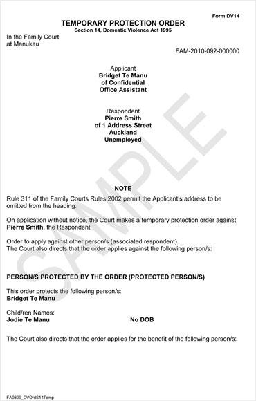 sample protection order � domestic violence � te ara