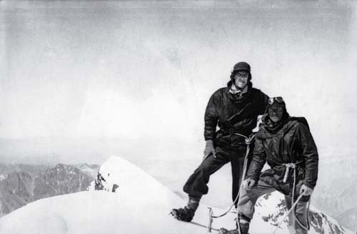 Hillary and Ayres on Aoraki/Mt Cook, 1947