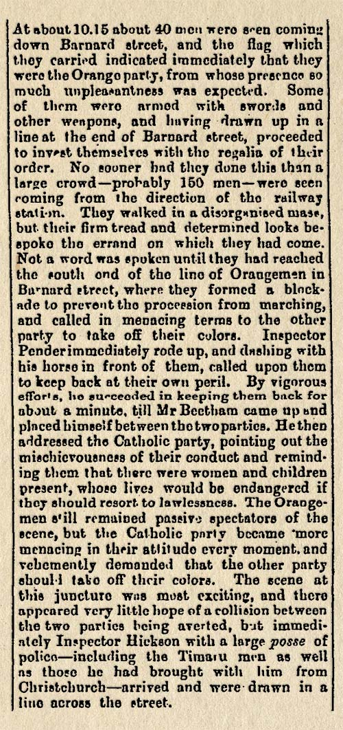 Boxing Day conflict in Timaru, 1879