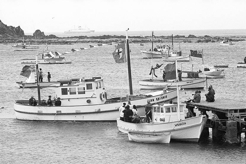 Catholic community life: blessing the fishing boats, Island Bay