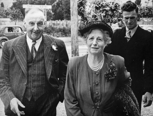 Fred and Nancy Bettjeman with their son-in-law Hector Oliver (right) at a family wedding in December, 1951