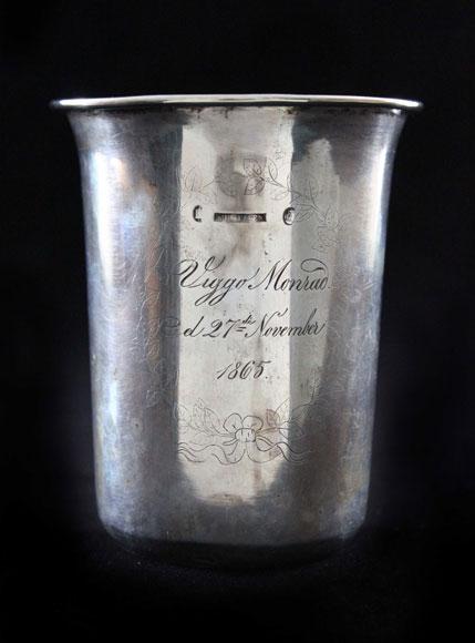 This pure silver beaker was made in Copenhagen, De...