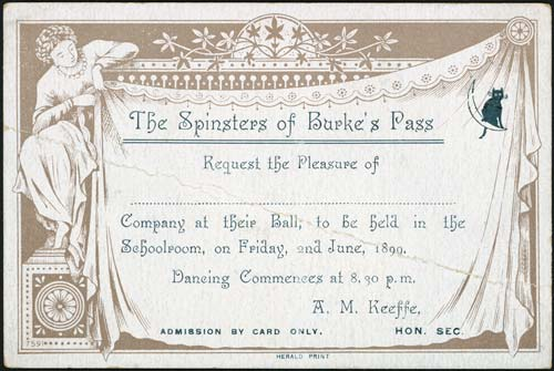 Rural dances: Spinsters' Ball, 1890