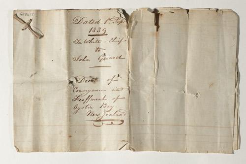 Jacky Guard: Marlborough land deed, 1839