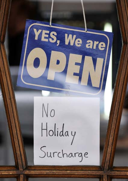 Holiday surcharge