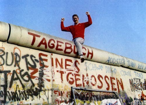 Atop the Berlin Wall