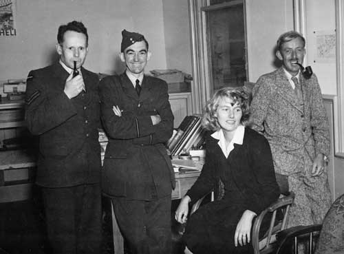 Members of the War History Branch including Ruth Ross and John Dobrée Pascoe (far right), about 1945