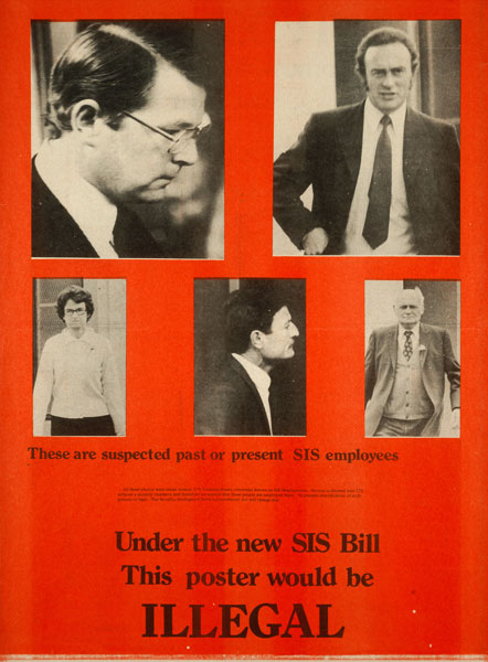 Protests against the NZSIS Amendment Bill 1977: naming SIS employees