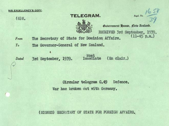 new zealand declares war on germany  u2013 second world war  u2013 te ara encyclopedia of new zealand
