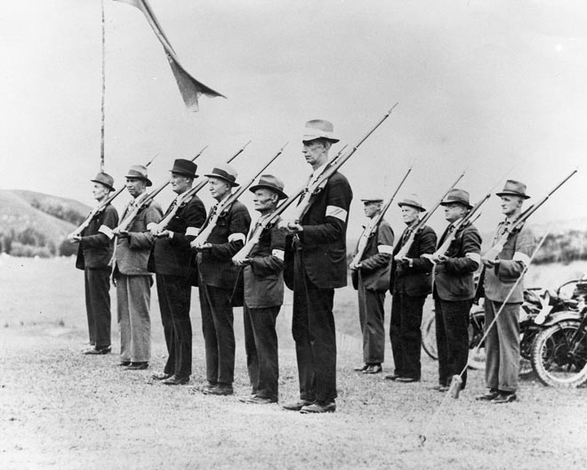 Members of the Home Guard train in the Waikato. Fo...