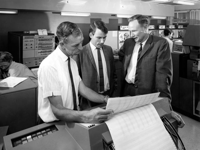 Treasury staff with computers, 1968