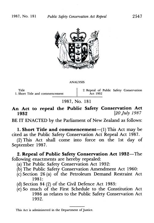 Public Safety Conservation Act Repeal Act 1987