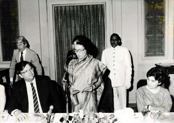 David and Naomi Lange with Indira Gandhi, India, 1984