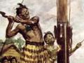 Hōne Heke chopping down a British flagpole, 1845