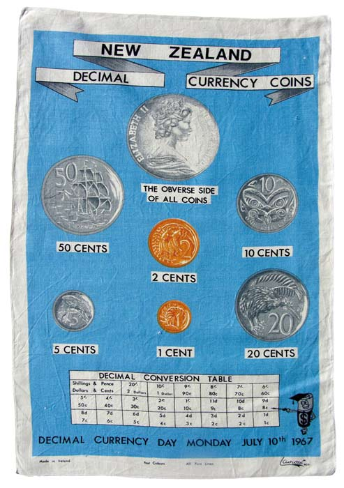 Decimal-currency tea towel
