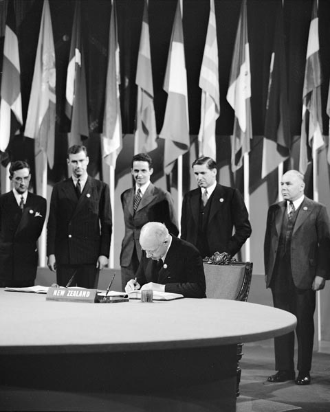 Peter Fraser Signing The United Nations Charter, 1945