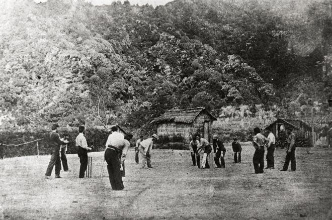 Soldiers playing cricket in Taranaki, about 1866