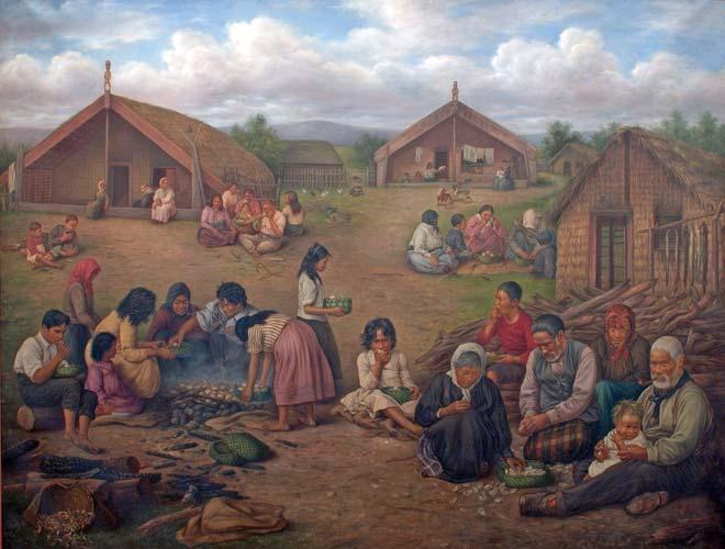 Meal time in a Māori village