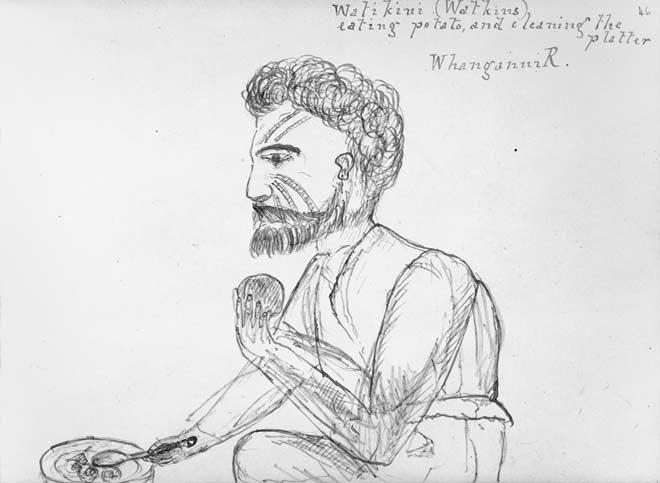 Māori man eating, 1861