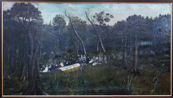This painting by an unknown artist shows a picnic ...