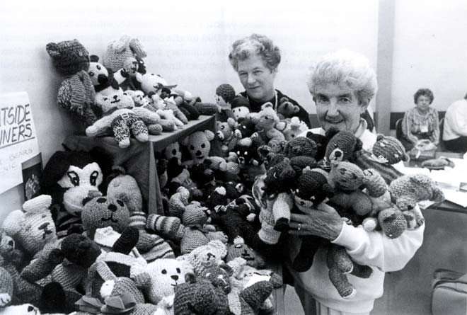 Knitting for charity, 1991
