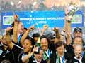 The Black Ferns celebrate world cup victory, 2010