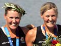 Georgina and Caroline Evers-Swindell with gold medals, 2004