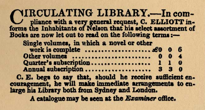 Nelson circulating library, 1842