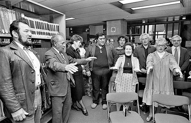 Opening of the Māori Room, Dunedin Public Library, 1986