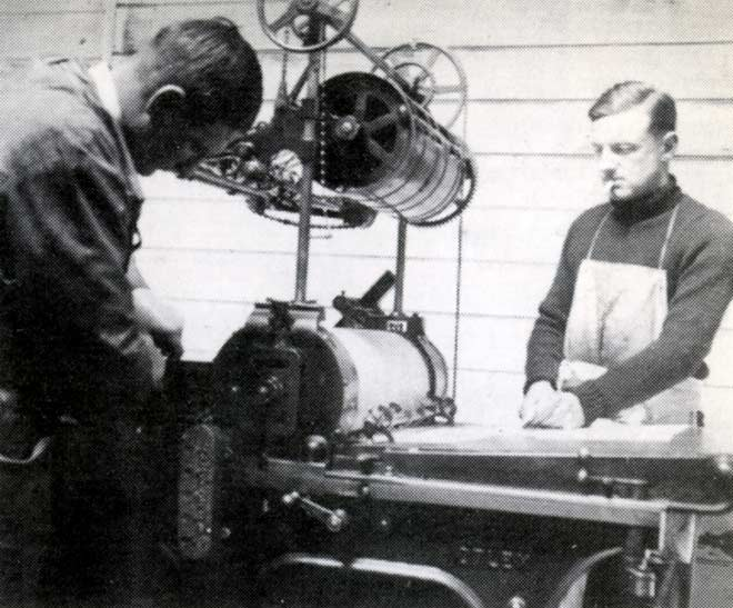 Denis Glover and John Drew at the Caxton Press
