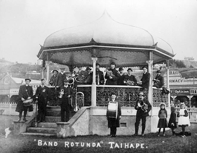 Taihape brass band at the band rotunda
