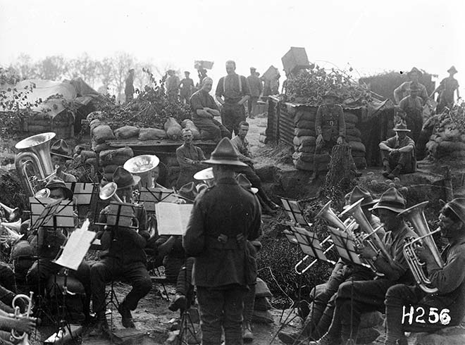 Brass band at the NZ Rifle Brigade camp near Ypres