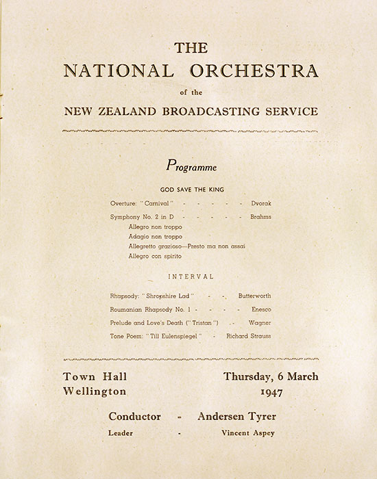 A national orchestra: first performance, 1947