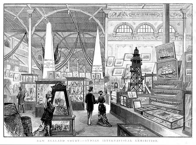 New Zealand court at the Sydney International Exhibition, 1879