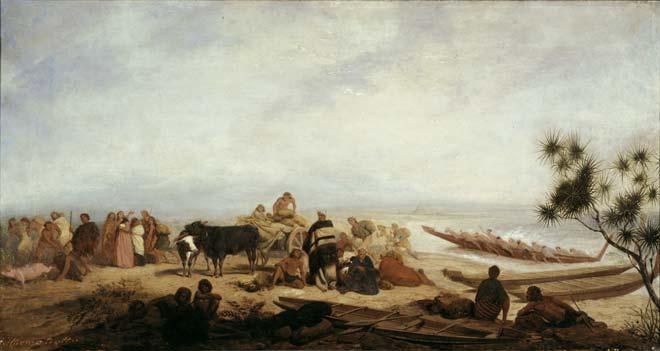 William Strutt, 'On the beach at Onehunga'