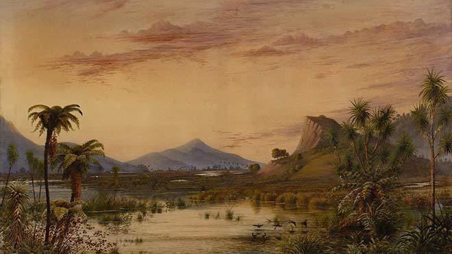Alfred Sharpe, 'Golden evening, New Zealand'