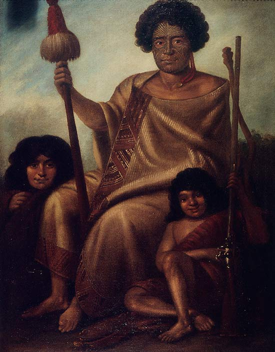 Augustus Earle's portrait of Rangituke, his wife and son, 1827