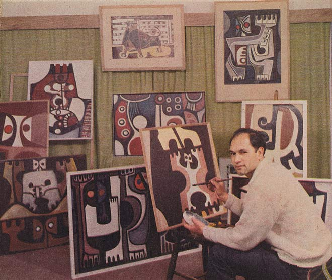 Para Matchitt with paintings, 1965